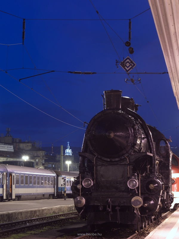 The MV 328,054 steam locomotive at Budapest-Dli in the blue hour photo