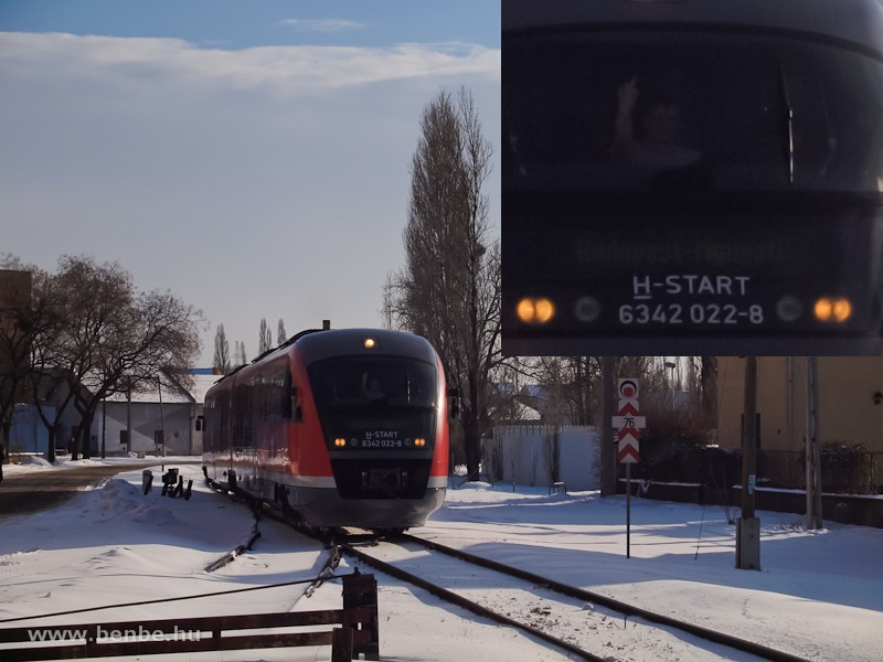 A 6342 022-8 egy iparvágány-kiágazásnál Kispesten fotó