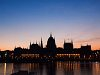 The Budapest Parliament building with the old lights but shut down main reflectors at sunrise