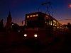 Tram line 1's Szentlélek tér stop by sunset