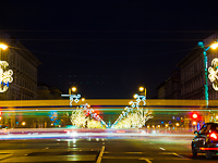 Christmas decorations and a Combino tram at Oktogon