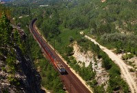 A ŽSSKC 363 and 240 is seen with a coal train near Als�galla