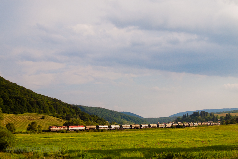 A freight train hauled by two Bardotka (ŽSCS class 751) locomotives seen between Balogfalva (Blhovce) and Várgedefürdő (Hodejov) photo