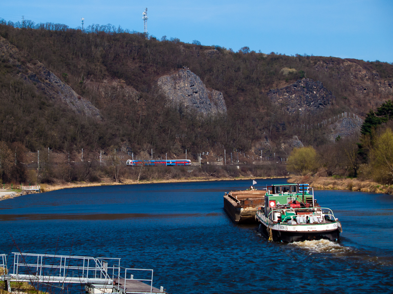 Barge on the Vltava with a  picture