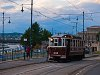 Historic tramcar number 611 of the BKV seen at Budapest Széchenyi tér by sunset