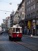 A 349-es pályaszámú nosztalgia-villamoskocsi Prágában a Vencel térnél (Václavské námésti)