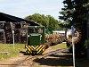 A Csömödéri Erdei Vasút 98 55 8235 347-2 pályaszámú C50-ese tehervonattal Csömödér állomáson