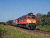 A MÁV-TR 628 333 az árvíz miatt terelt tehervonattal az 5-ös vonalon Nagyigmánd-Bábolna és Csémpuszta között