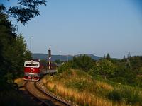 The ŽSSK 754 054-5 retro-livery Okularnyk between Ajnácskő (Hajnačka, Slovakia) and Balogfalva (Blhovce, Slovakia)
