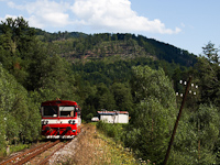 The ŽSSK 812 002-4 seen between Fenyves (Zbojská, Slovakia) and Gömörvég (Tisovec-Bánovo, Slovakia) on the Tisovec Rack Railway