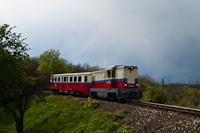 A Gyermekvasút Mk45 2003-as, remotorizált dízelmozdonya Szépjuhászné állomáson