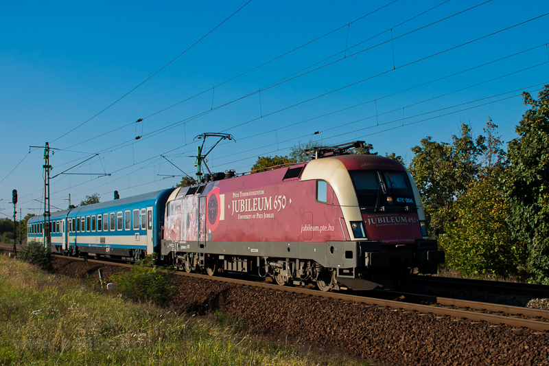 The locomotive of the fake jubilee, the never existed 650-year-old university of the MÁV-START 470 004 seen at Szemeretelep photo