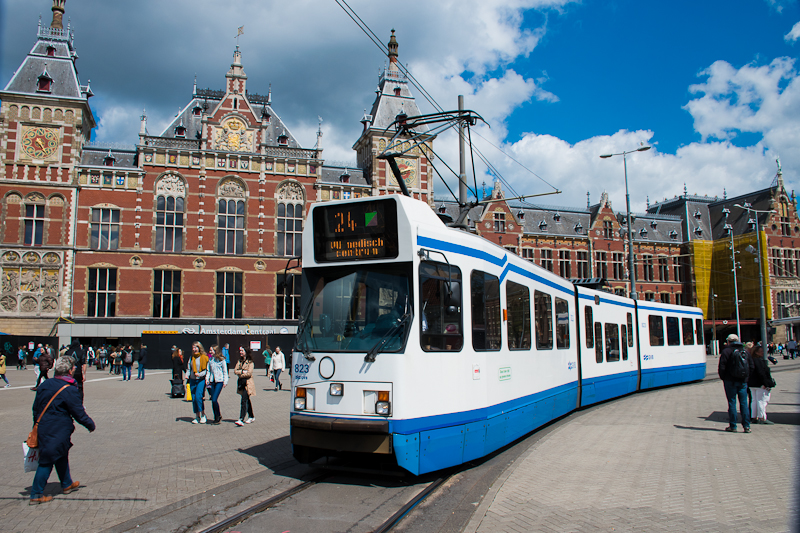 An old tram at Amsterdam Centraal photo