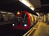 A train on the shallow underground section of the District Line of the Tube