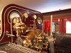 The cab of the underground steam locomotive of the Metropolitan Railway at the London Transport Museum