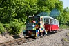 The Budapest Children Railway GV 303 calss C50 diesel locomotive is designed to appear as a locomotive built of LEGO bricks. It was seen between Hárs-hegy and Szépjuhászné stations.