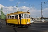 The BKV wood frame historic tram number 2806 is seen in its last operating condition and livery at Szent Gellért tér