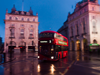 Double-decker bus no. 3 at Piccadilly Circus heading for Crystal Palace