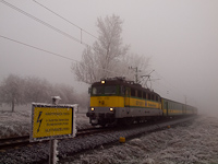 The GYSEV 430 330 seen between Sopronkövesd and Lövő in frosty weather