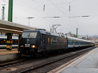 The 480 007 Rákóczi-TRAXX is waiting for departure at Budapest-Déli