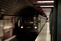A régi M3-as metró 81.714/717 sorozatú vonata a Nyugati pályaudvaron
