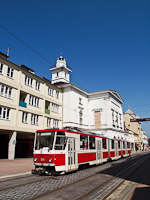 The old red-white Tatra KT8D5 No. 211 seen at Miskolc, at the National Theater