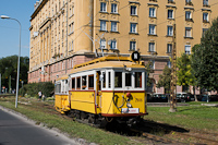 The BKV Budapest woodframe historic tram number 2806 with a class EP trailer seen at Krisztina körút shunting away from the way of a timetabled tram