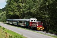 A Čiernohronská Lesná Železnica TU45 001 Vydrovo Skanzen és Korytárske között