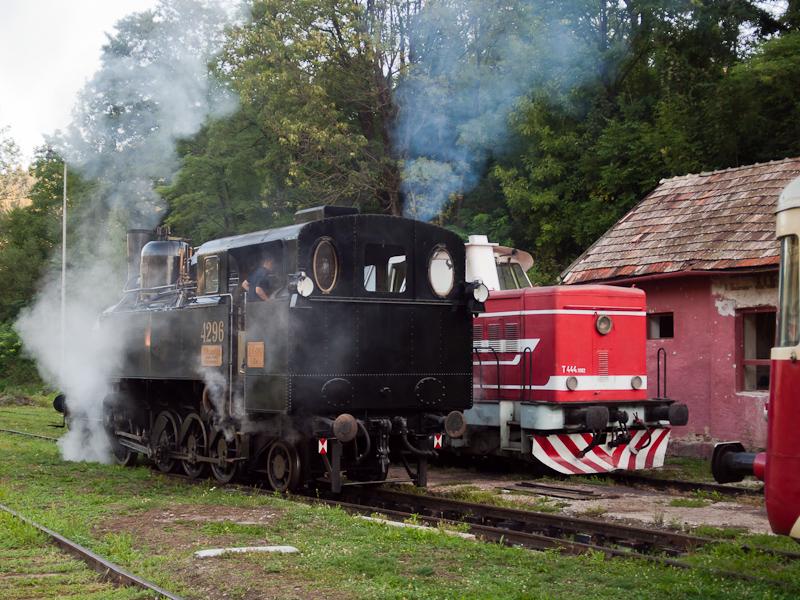 A Magyar Királyi Államvasutak TIVc. osztály 4296 és a ČSD T444.1082 Tiszolc állomáson fotó