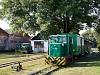 A Csömödéri Erdei Vasút C50-408 által vontatott szerelvénye Csömödéren
