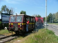 The work railcar of the Budapest underground headind to the K�b�nya-Kispest depot via the M�V mainline