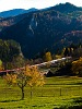 An InterCity train is running in the autumn mountainside hauled by an ÖBB class 1144 electric locomotive