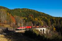 Az ÖBB 1142 639-2 Klamm-Schottwien és Breitenstein között segít egy taurusos tehervonatnak fölfelé kapaszkodni a Semmeringen. A kép a Rumplergraben-viaduktnál készült a Nordrampén.