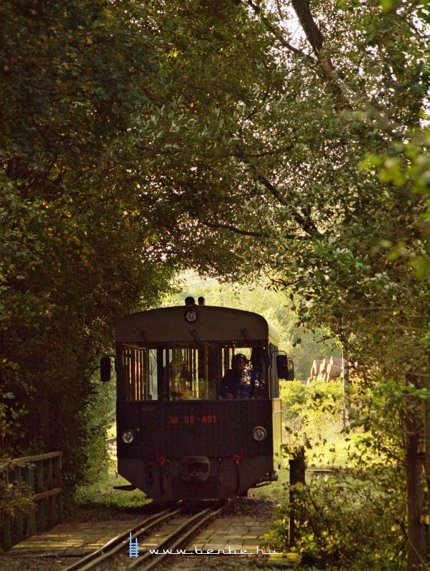 A KEV (Királyréti Erdei Vasút) M 06-401 pályaszámú motorkocsija Paphegy állomás és Királyrét alsó megállóhely között fotó