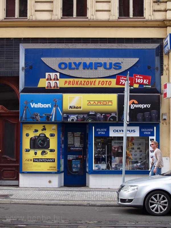 Olympus márkabolt Prágában fotó