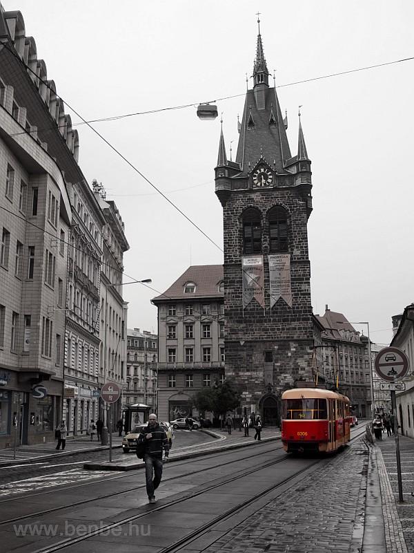 A Tatra T3 tram near the tower of Jindřišska Ves photo