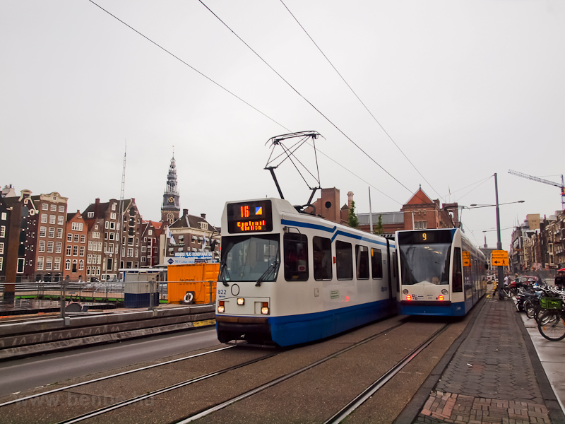 Trams near Amsterdam Centra photo