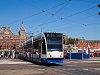 Villamos Amszterdamban, a Centraal Station előtt