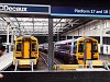 The First ScotRail BREL Express DMUs 158 780 and 158 704 seen at Edinburgh Waverley