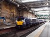 The First ScotRail's 334 024 Juniper electric multiple unit seen at Edinburgh Waverley