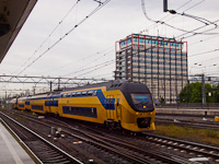 A VIRM trainset is seen arriving at Amsterdam Centraal