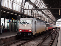 The AngelTrains E186 144 seen hauling an InterCity Direct train at Amsterdam Centraal
