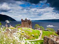 Urquhart Castle at the shore of Loch Ness