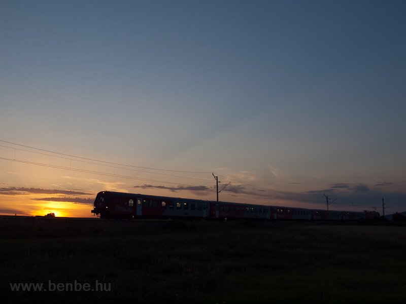 An ÖBB CityShuttle push-pull set seen during sunset photo
