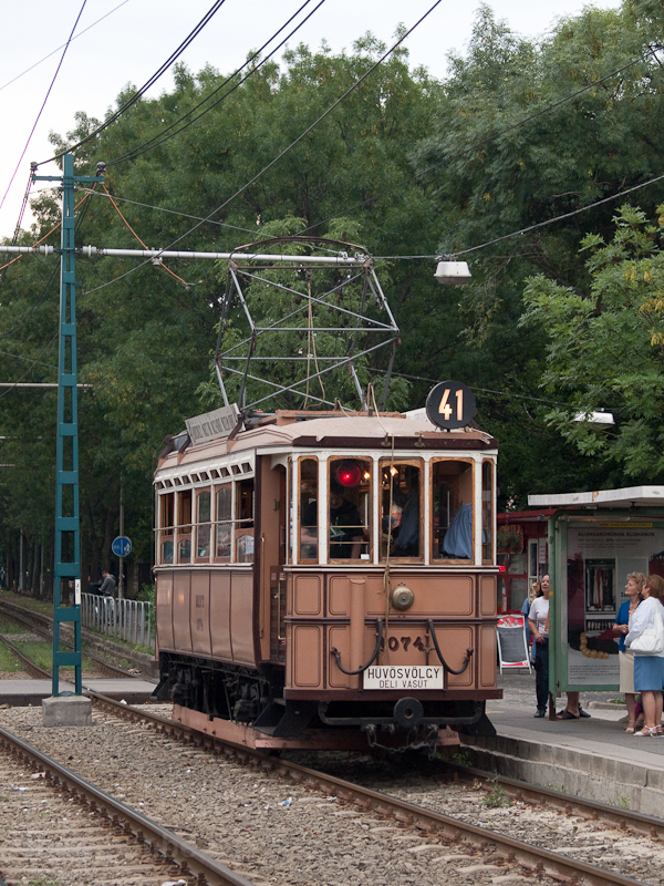 Historc tram on the line to photo