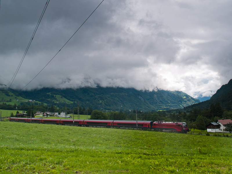 An ÖBB 1116 seen hauling a railjet train between Braz and Bludenz photo