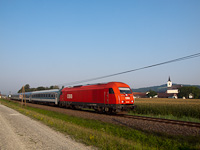 The ÖBB 2016 096 seen hauling the international InterCity Rába between Mogersdorf and Szentgotthárd