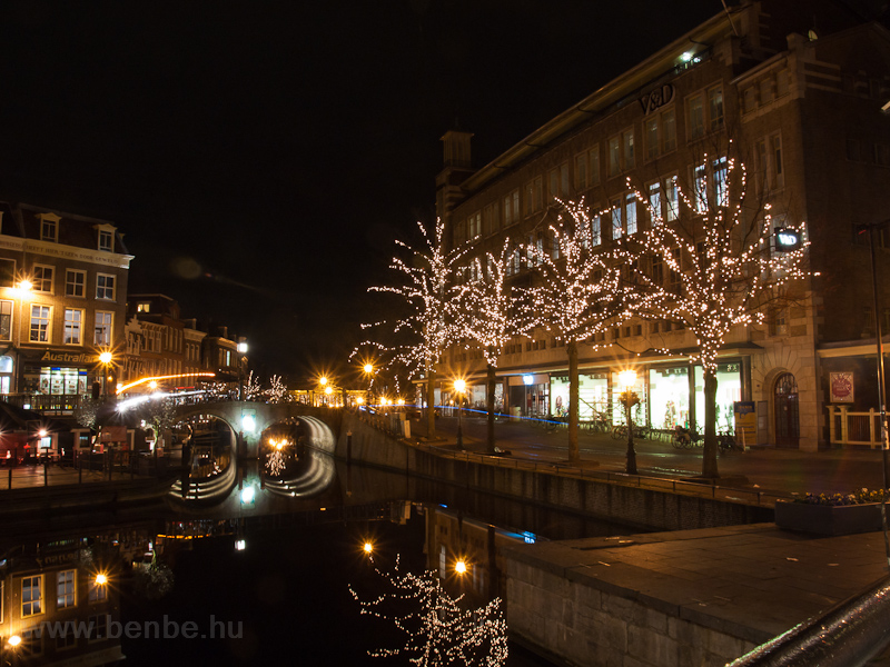 The old town of Leiden with Christmas lights along the Nieuwe Rijn photo