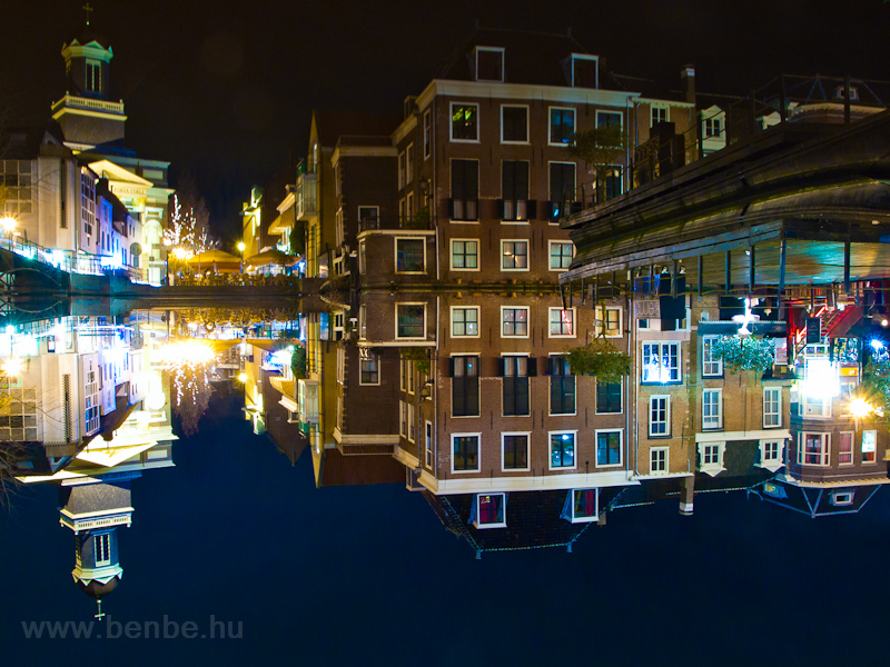 The old town of Leiden with picture