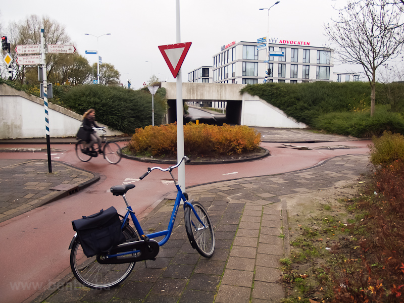 My little bike and a bicycle roundabout at Leiden, The Netherlands photo